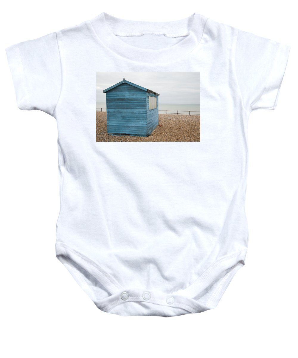 Kingsdown Baby Onesie featuring the photograph Beach Hut At Kingsdown by Ian Middleton