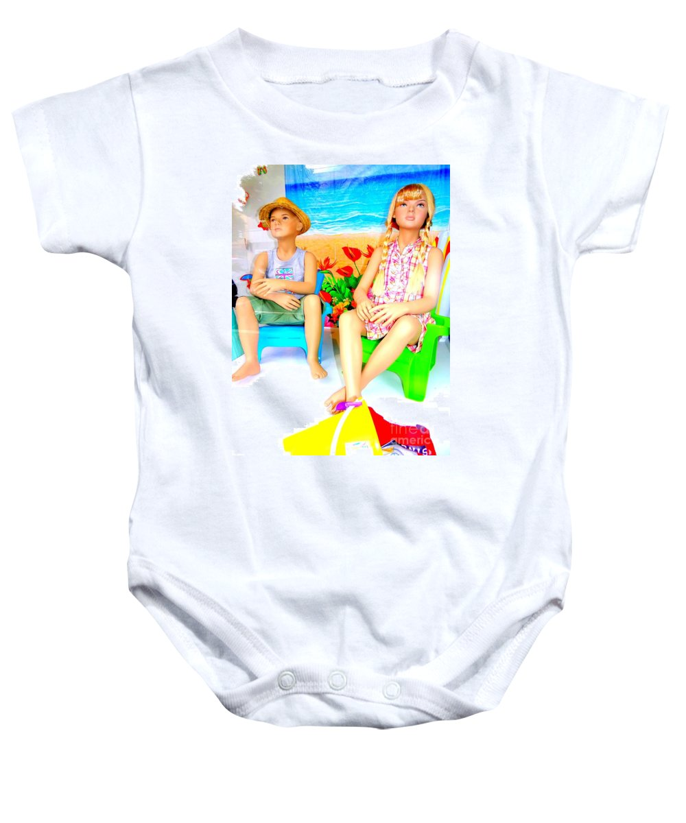 Mannequins Baby Onesie featuring the photograph Beach Kids by Ed Weidman