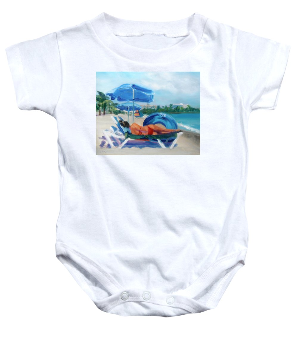 Beach Baby Onesie featuring the painting Beach Siesta by Donna Tuten