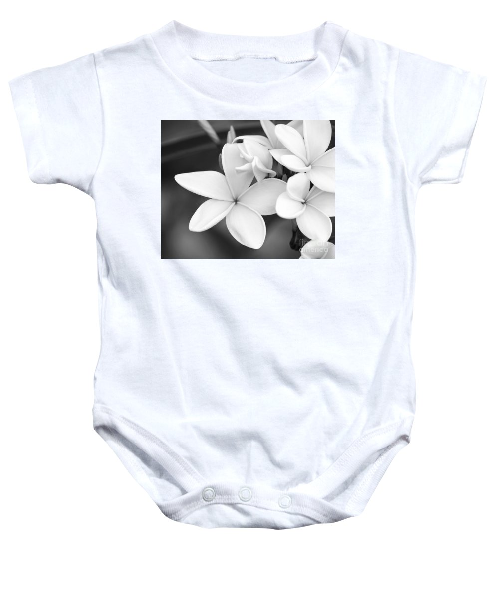 Art Baby Onesie featuring the photograph Beautiful Plumeria In Black And White by Sabrina L Ryan