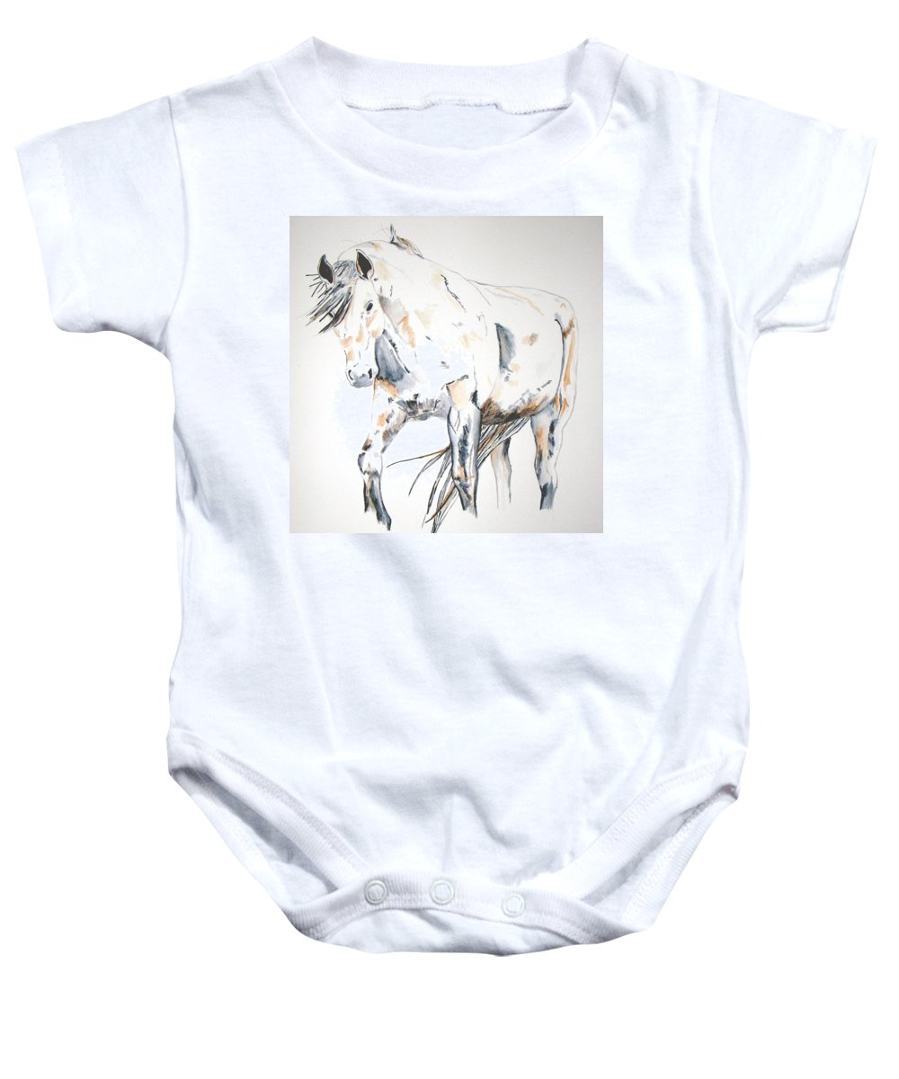 Horse Baby Onesie featuring the painting Beauty by Crystal Hubbard