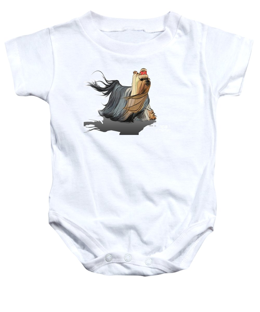 Yorkie Baby Onesie featuring the mixed media Best In Show by Catia Lee
