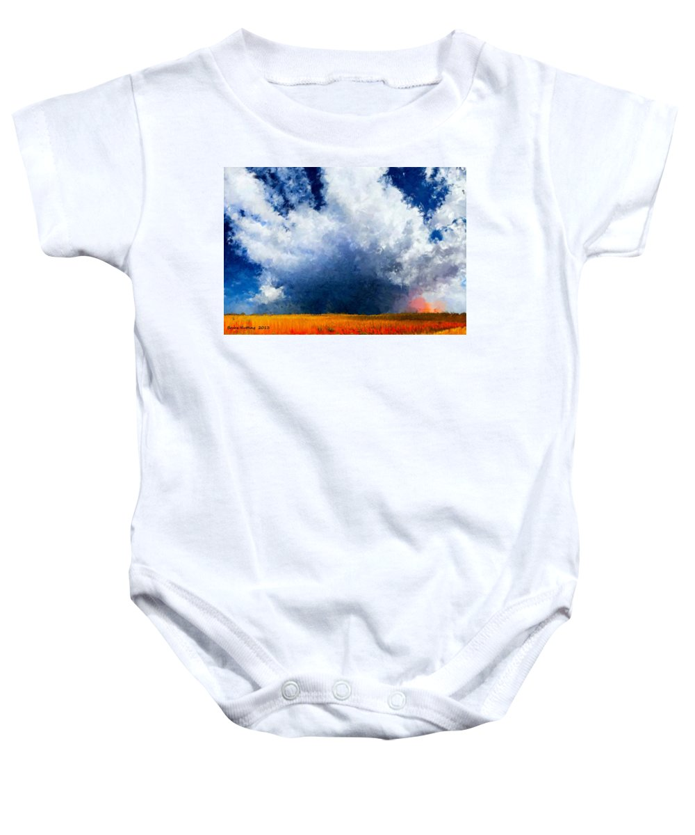 Cloud Baby Onesie featuring the painting Big Cloud In A Field by Bruce Nutting