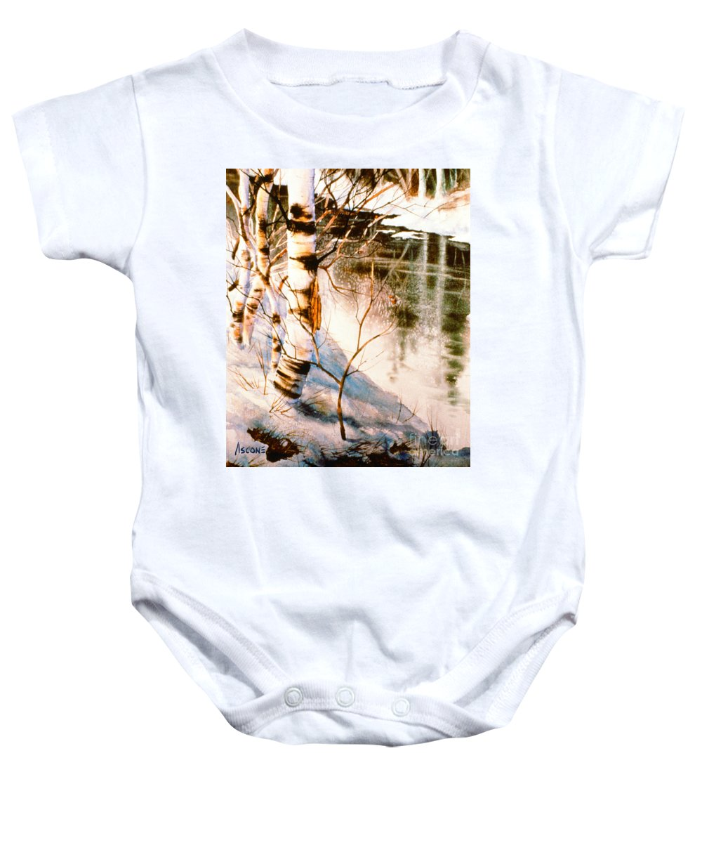 Birch By Stream Baby Onesie featuring the painting Birch By Stream by Teresa Ascone