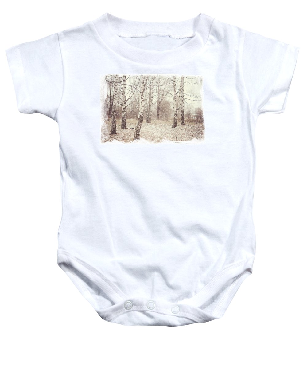 Winter Baby Onesie featuring the photograph Birch Trees In The Snow. Winter Poems by Jenny Rainbow