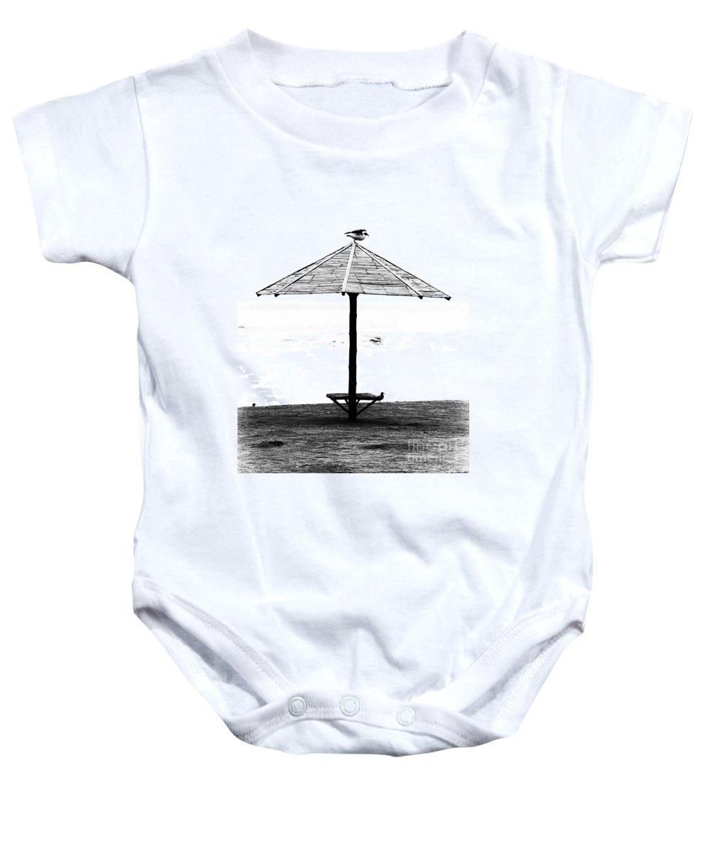 Bird Baby Onesie featuring the photograph Bird On Umbrella by Bruce Bain