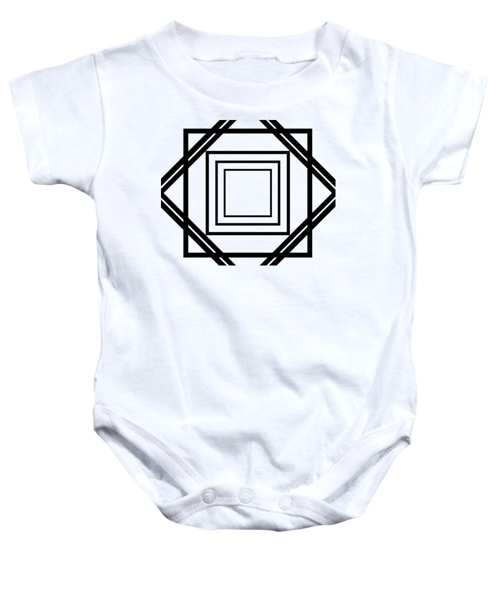 Black Baby Onesie featuring the digital art Black And White Art 175 by Ely Arsha