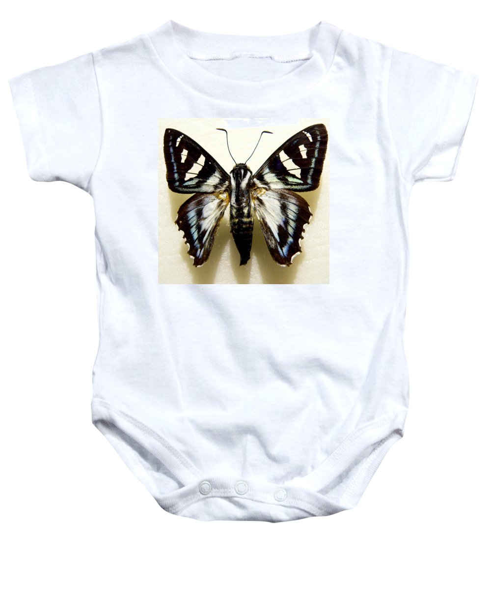 Butterfly Baby Onesie featuring the photograph Black And White Moth by Rosalie Scanlon