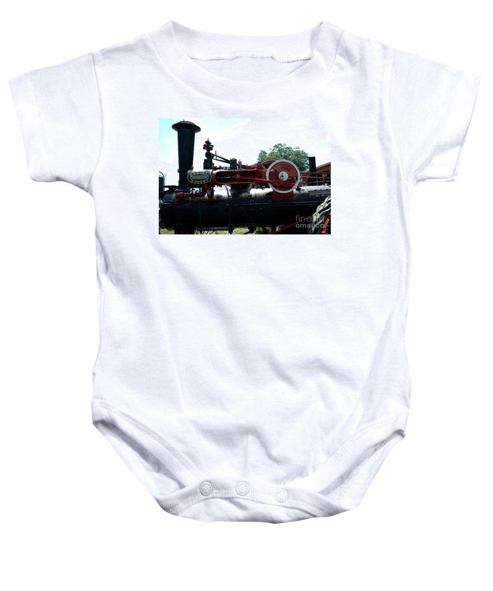 Black Baby Onesie featuring the photograph Black Steam Engine by Kathleen Struckle