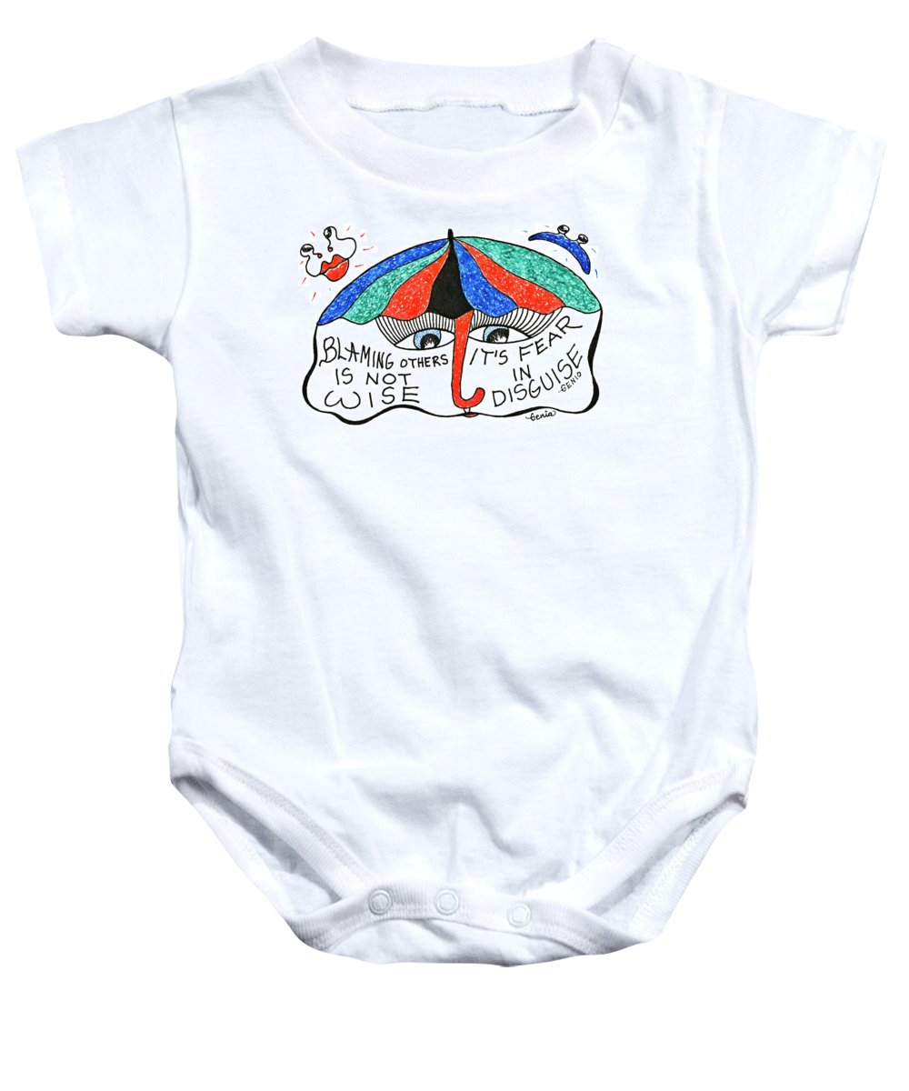 Genia Baby Onesie featuring the drawing Blaming Others Is Not Wise... by Genia GgXpress