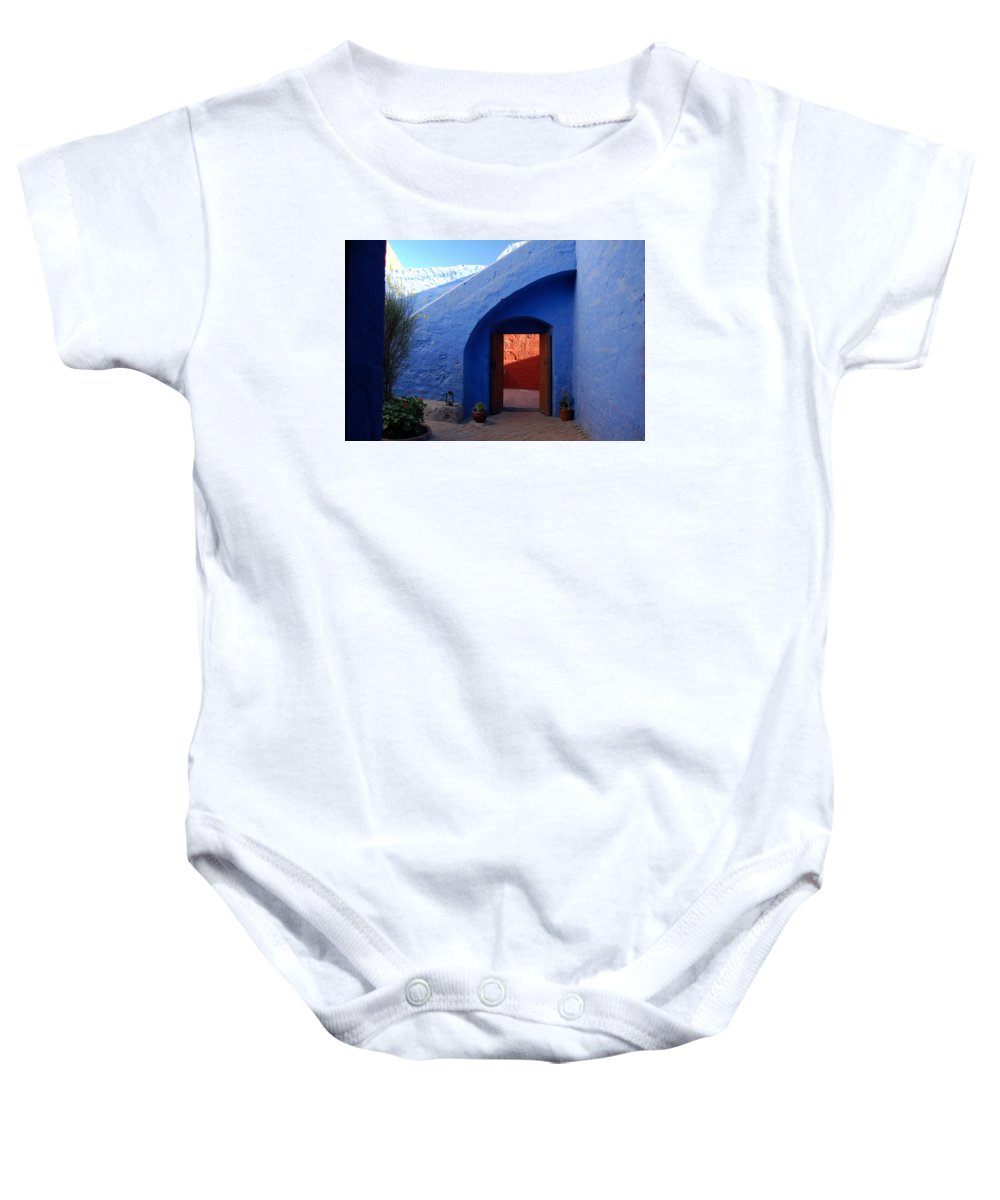 Monastery Baby Onesie featuring the photograph Blue Courtyard by RicardMN Photography