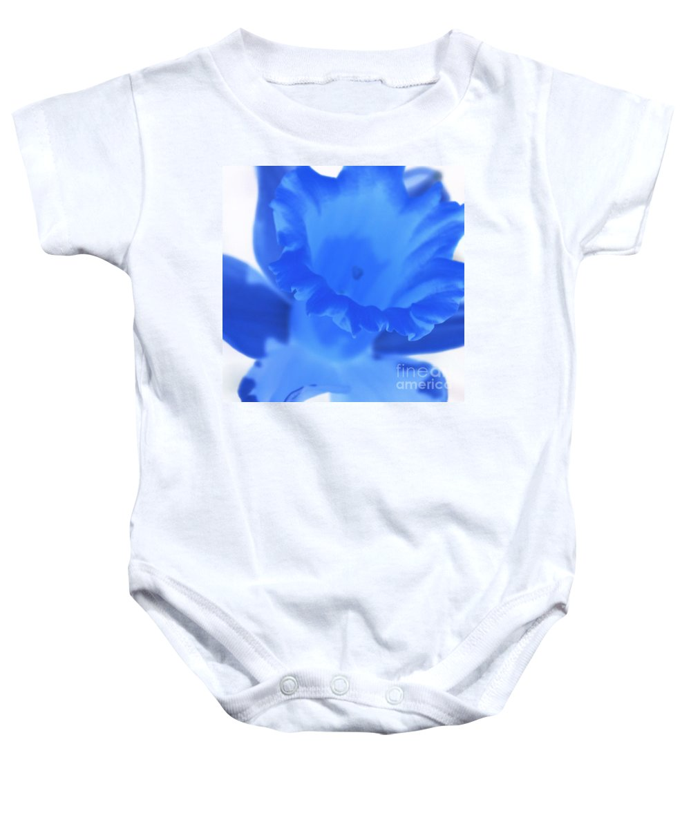 Daffodil Baby Onesie featuring the photograph Blue Daffodil by Andy Prendy