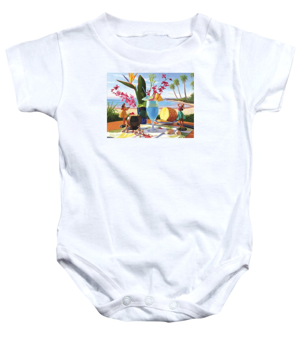 Blue Hawaiian Baby Onesie featuring the painting Blue Hawaiian by Steve Simon