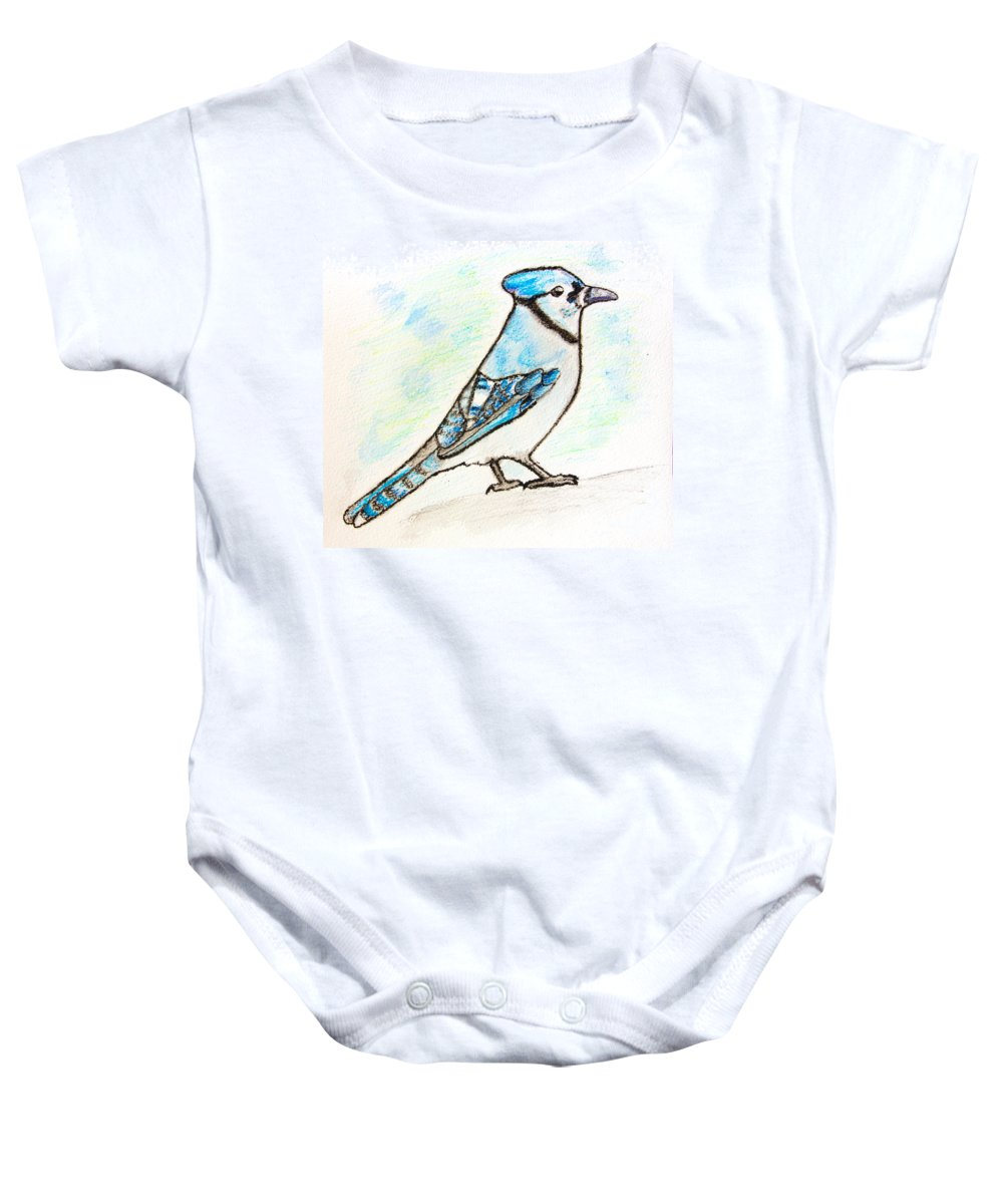 Watercolor Pencils Baby Onesie featuring the drawing Blue Jay by Pati Photography