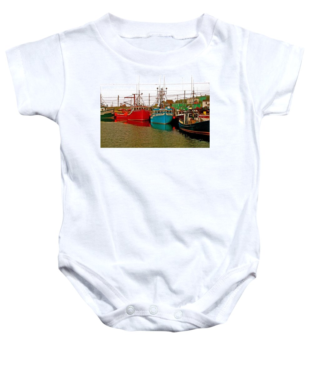 Boats In Branch Marina Baby Onesie featuring the photograph Boats In Branch Marina-nl by Ruth Hager