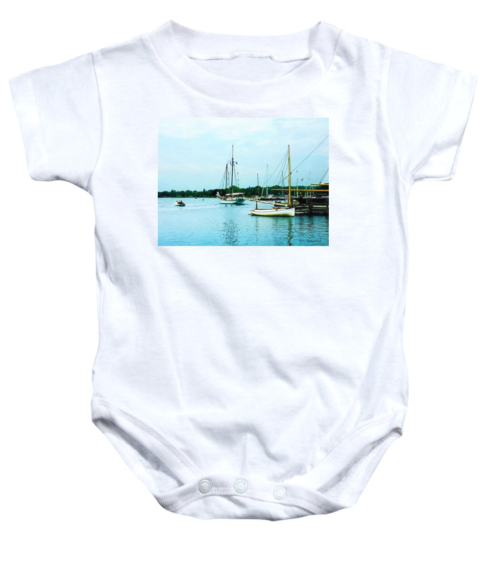 Boat Baby Onesie featuring the photograph Boats On A Calm Sea by Susan Savad