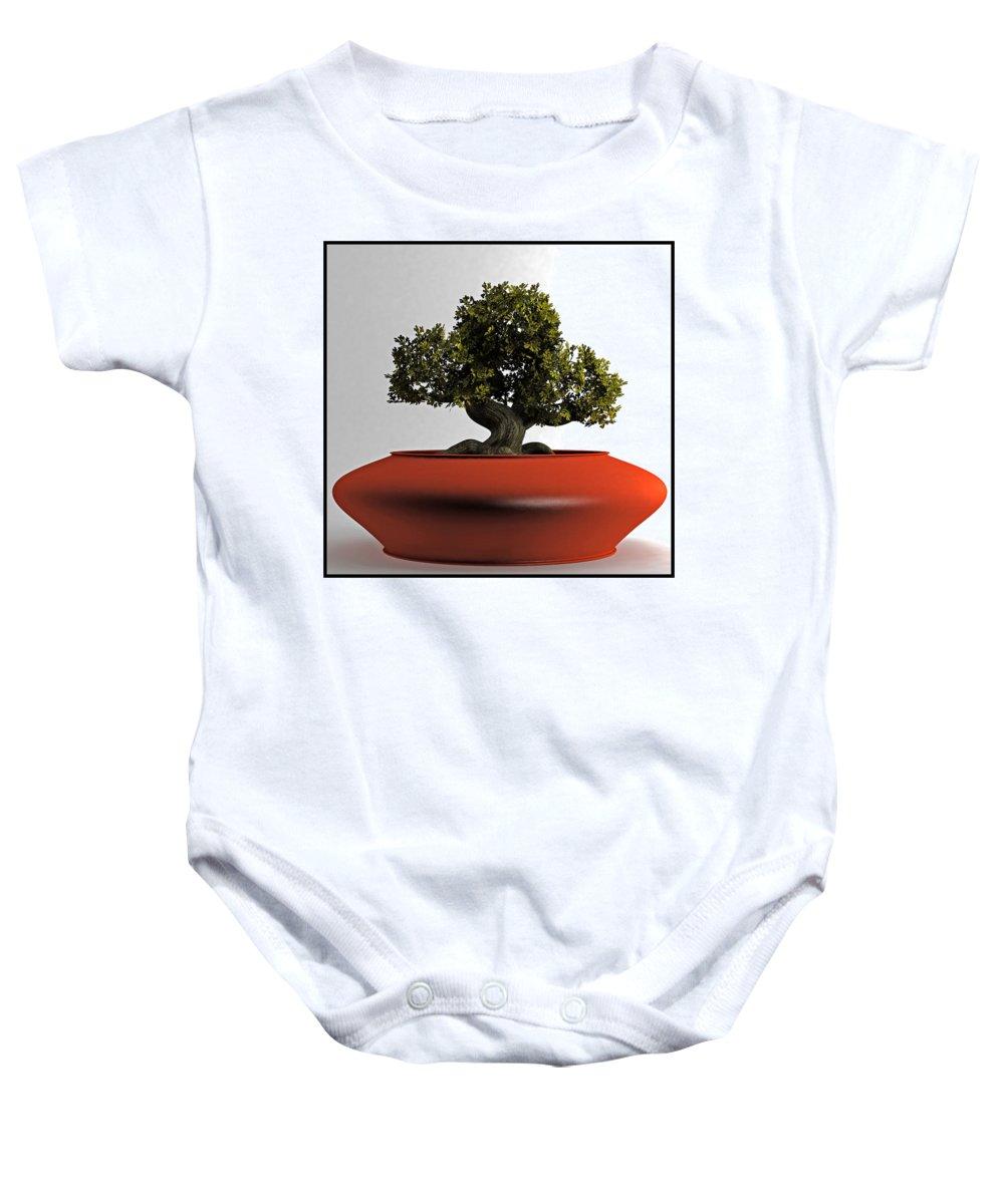 Plant Baby Onesie featuring the digital art Bonsai by Tim Fillingim