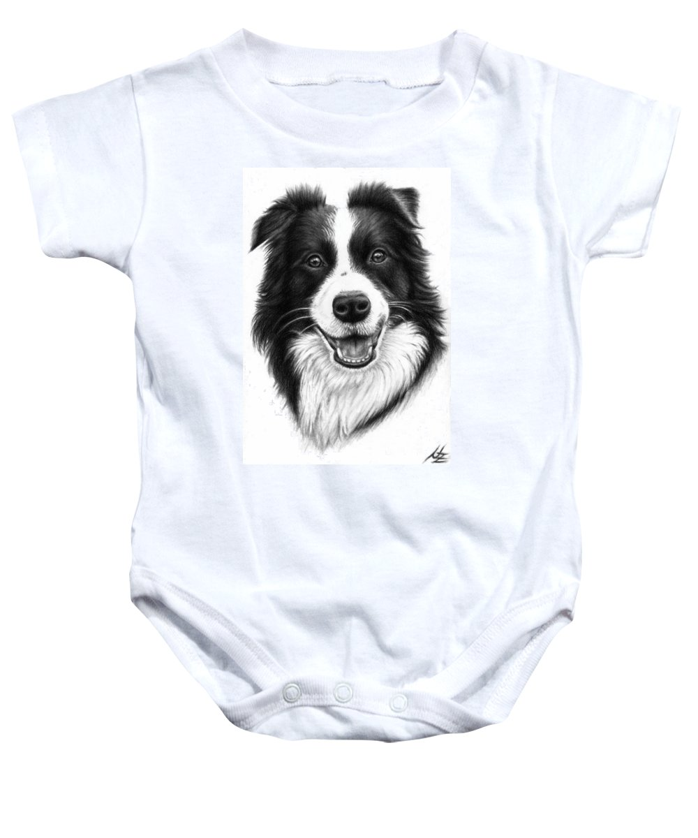 Dog Baby Onesie featuring the drawing Border Collie by Nicole Zeug