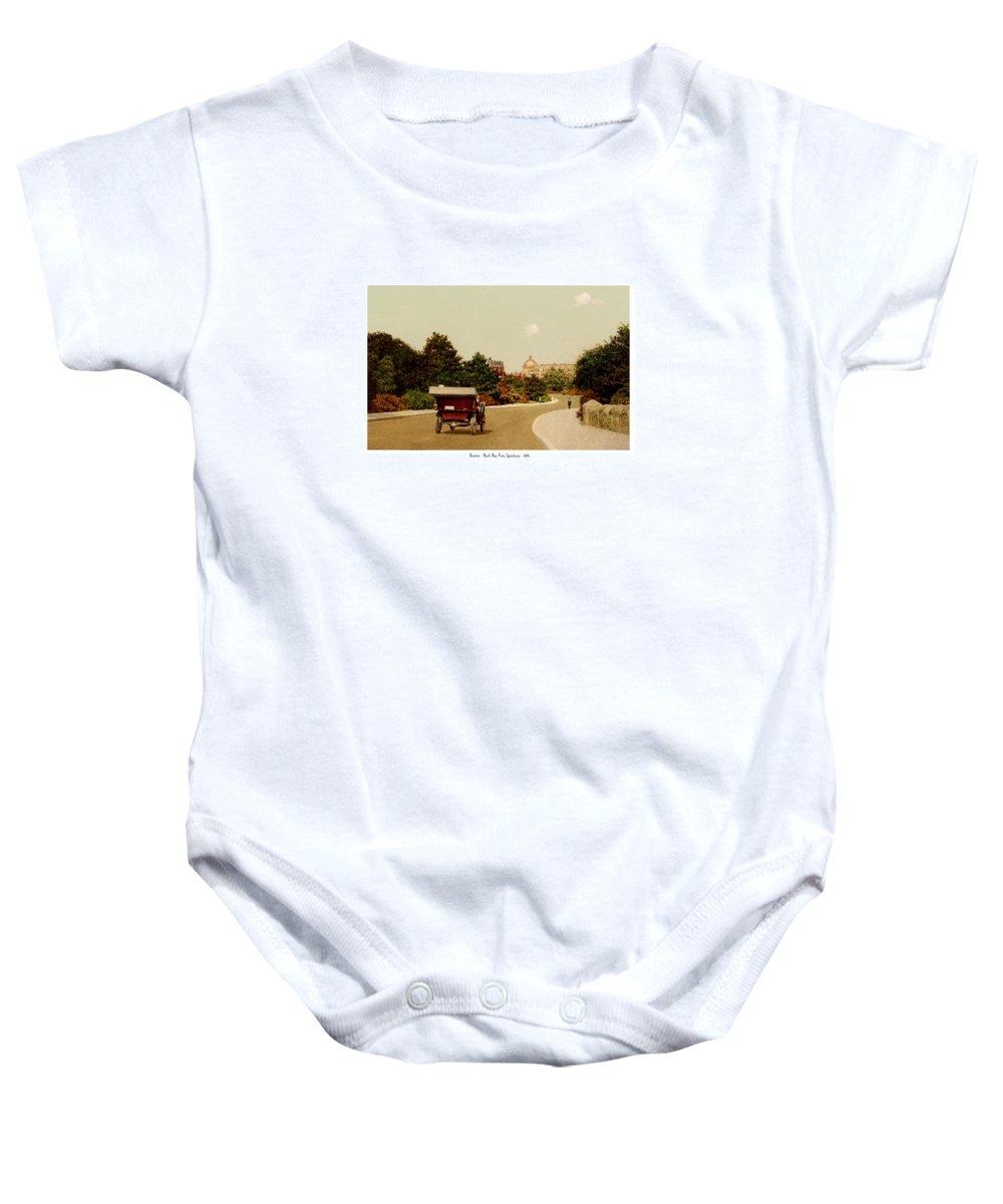 Boston Baby Onesie featuring the digital art Boston - Back Bay Fens Speedway - 1915 by John Madison