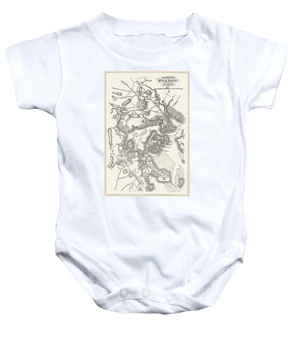 1775 Baby Onesie featuring the photograph Boston: Map, 1775-1776 by Granger