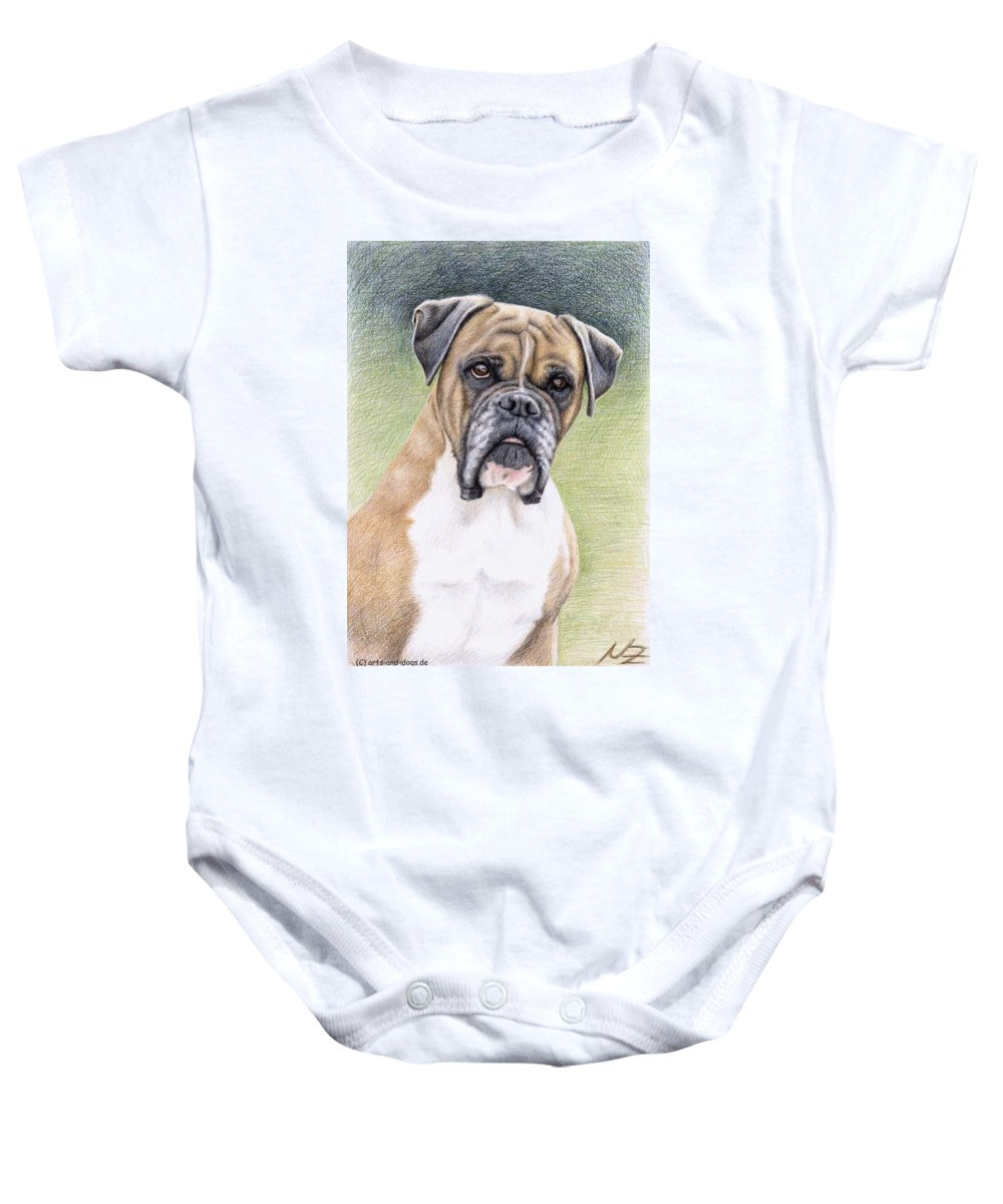 Dog Baby Onesie featuring the drawing Boxer Portrait by Nicole Zeug