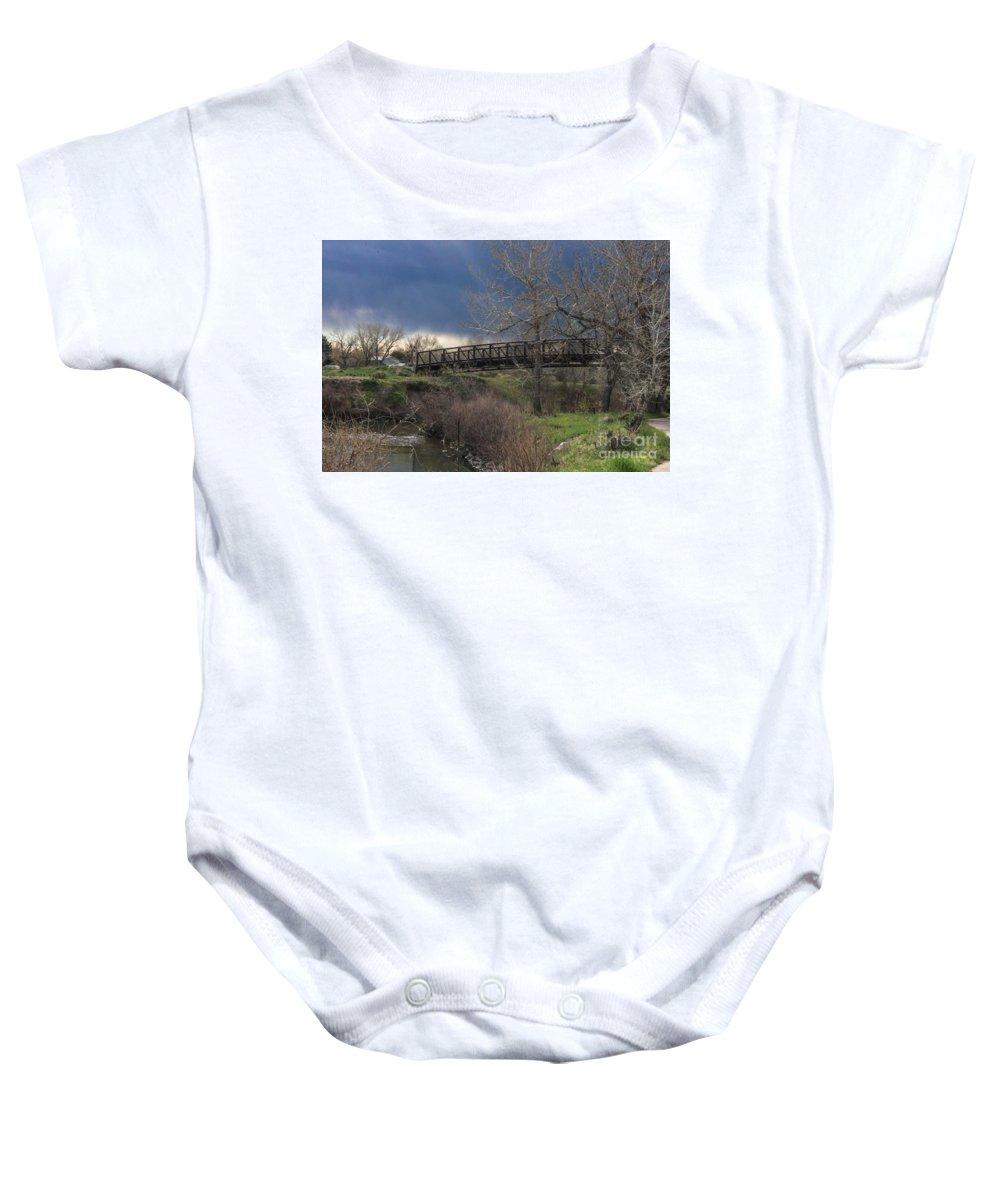 Bridge Baby Onesie featuring the photograph Bridge by Josh Scanlon