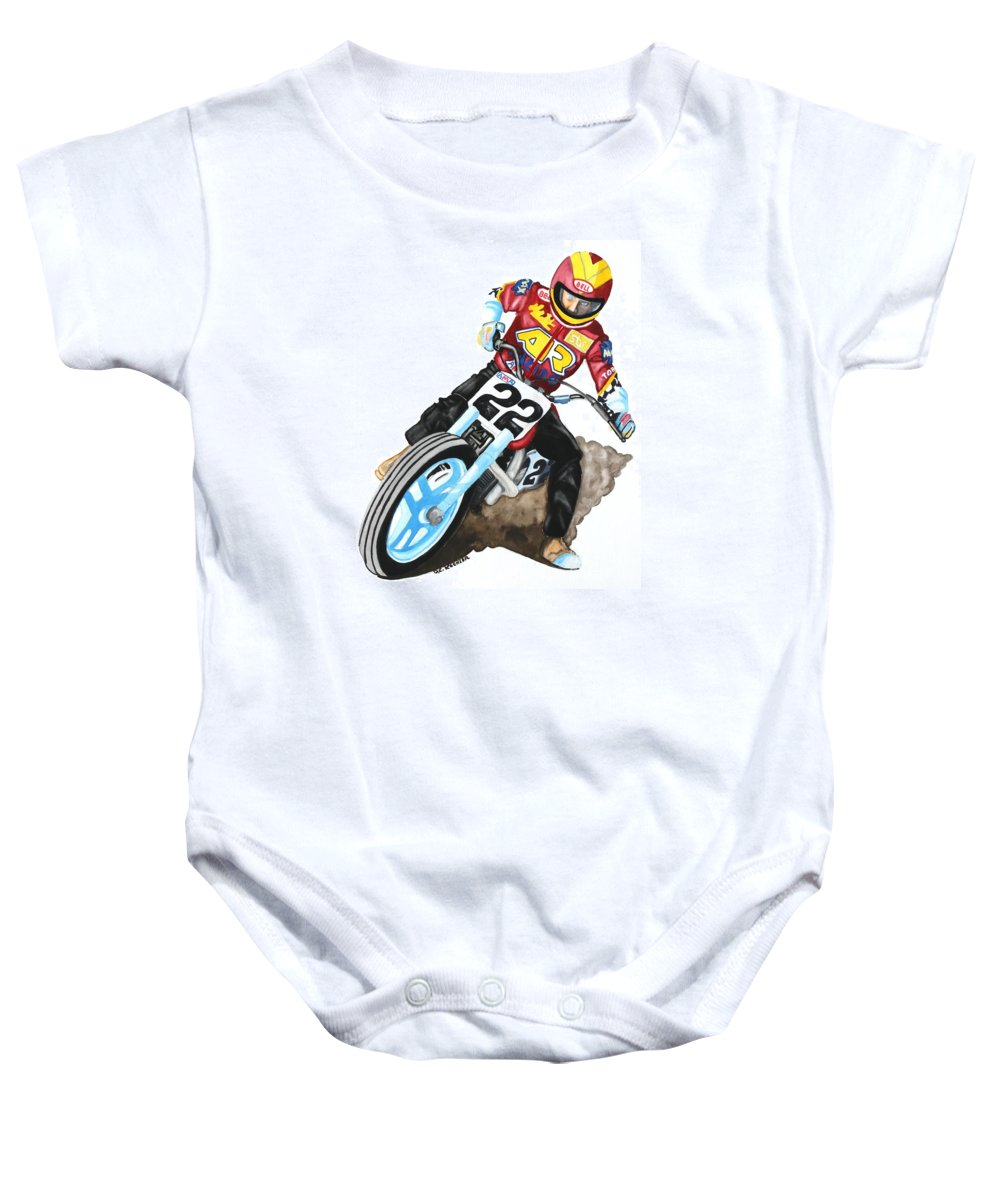 Flat Track Motorcycle Baby Onesie featuring the painting Broad Sliding Flat Tracker by Donald Koehler