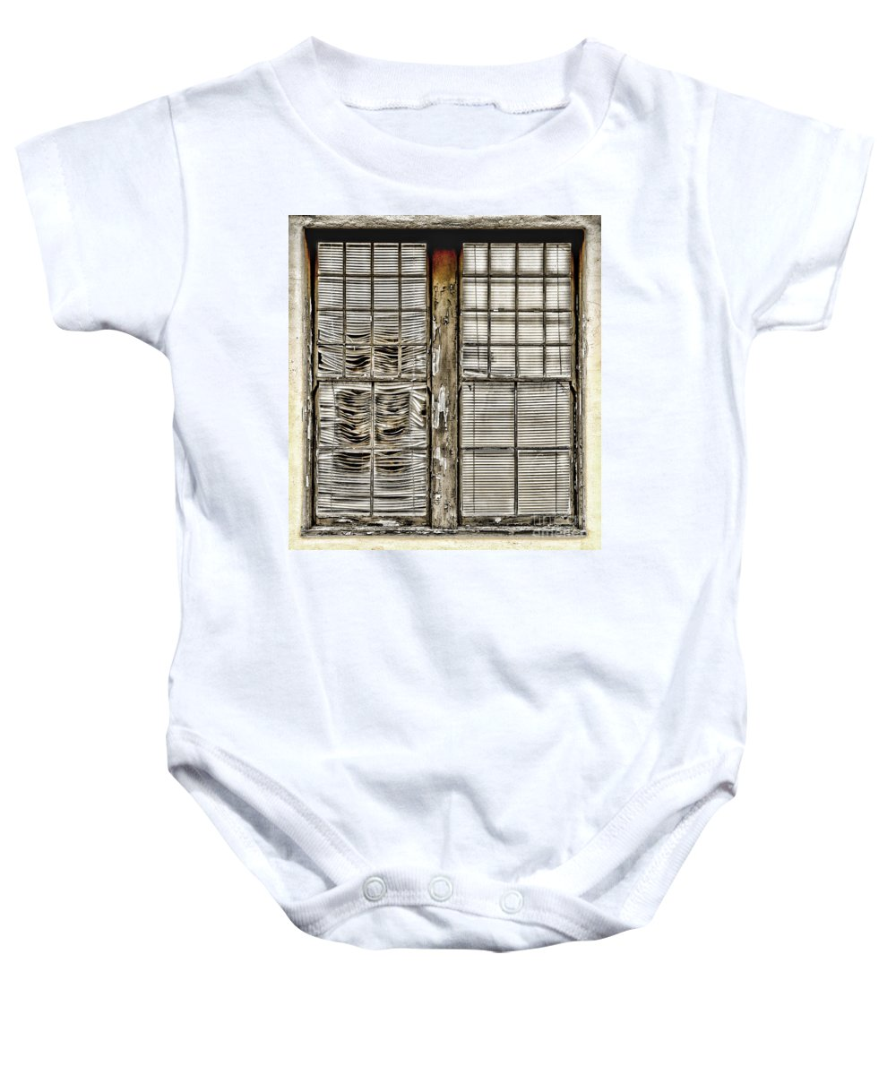 Window Baby Onesie featuring the photograph Broken Blinds At The Train Station By Diana Sainz by Diana Raquel Sainz