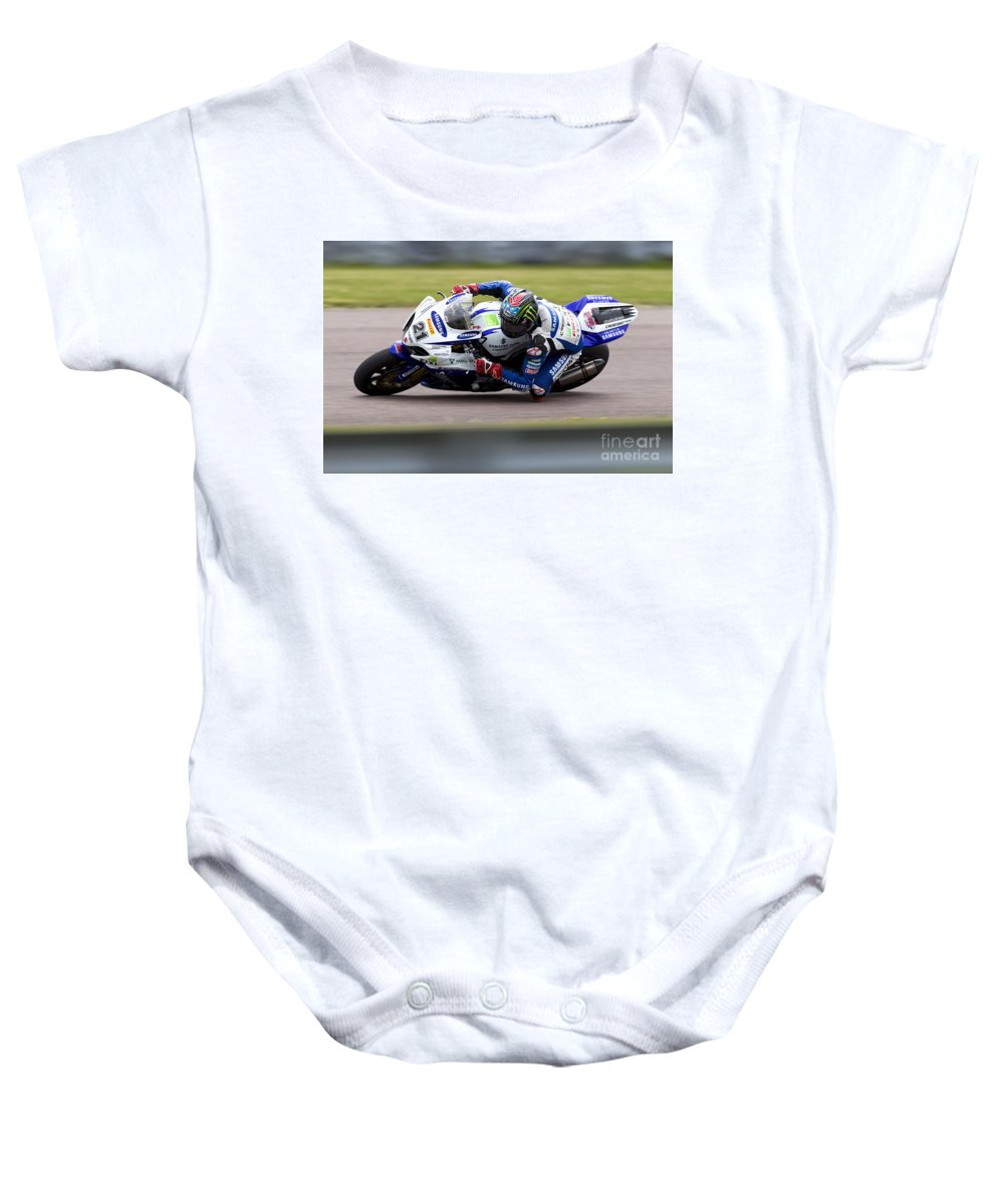 Superbike Baby Onesie featuring the photograph Bsb Superbike Rider John Hopkins by Andrew Harker