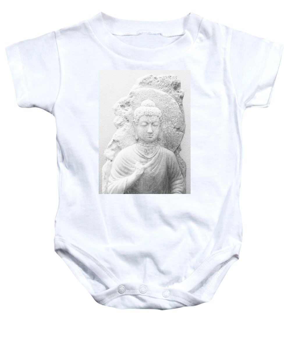 Black And White Baby Onesie featuring the photograph Buddha by Amar Sheow