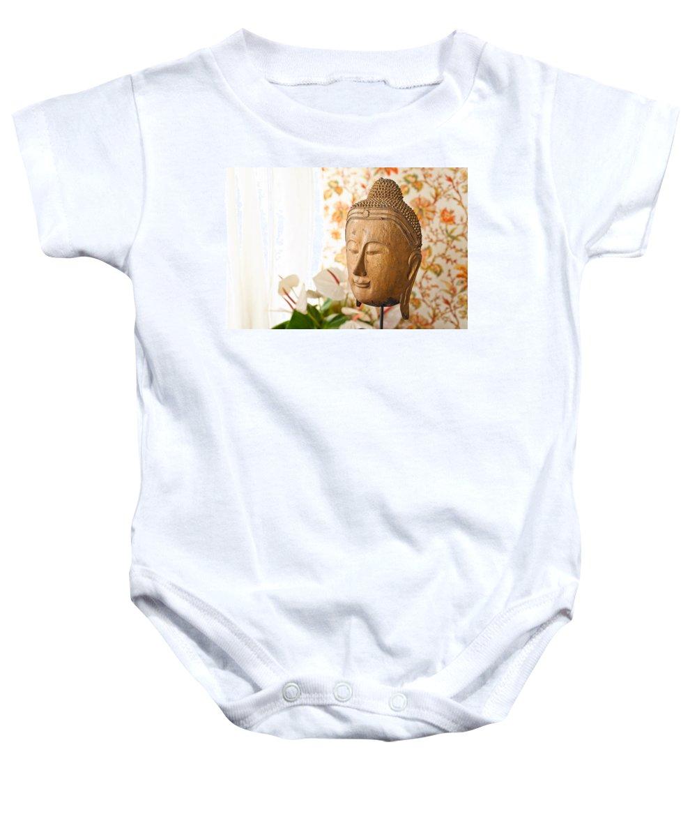 Day Baby Onesie featuring the photograph Buddha Head by U Schade
