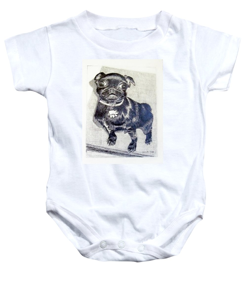 Rendering Baby Onesie featuring the drawing Buddy by Jamie Frier