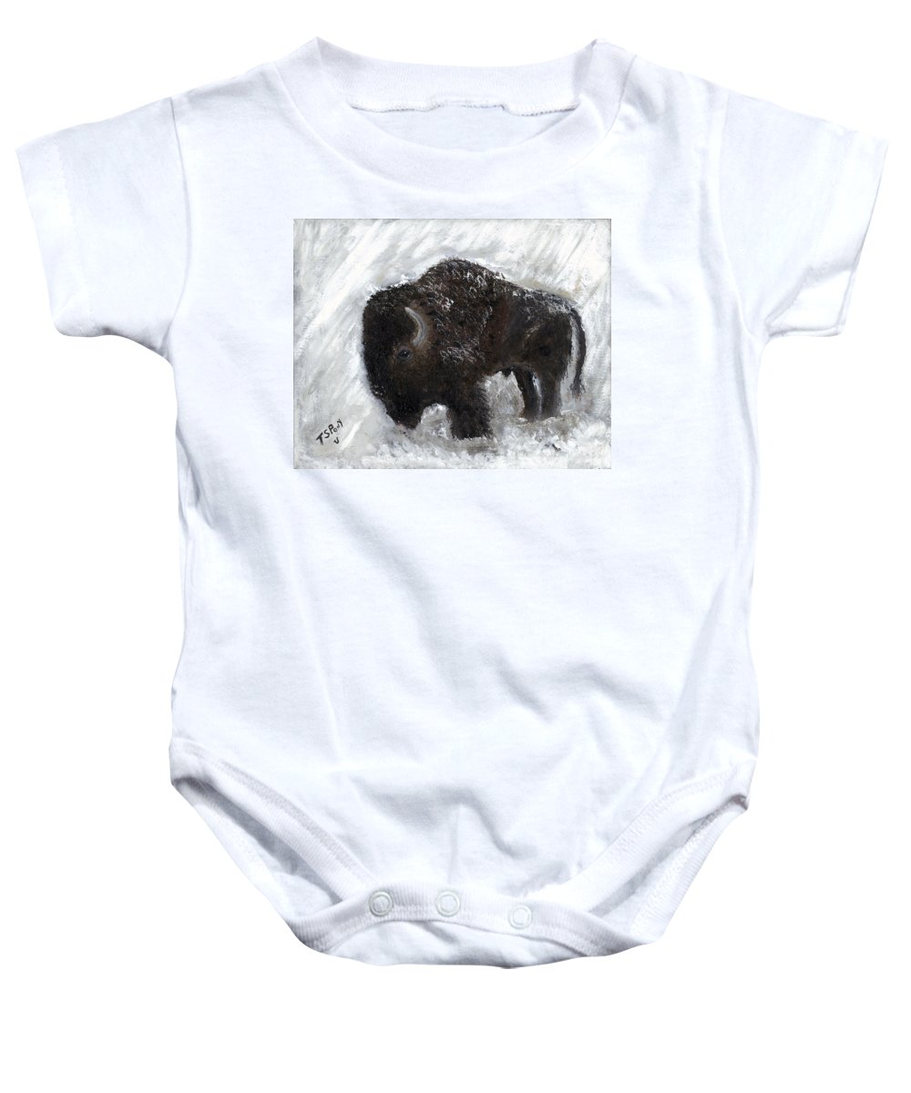 Tatanka Baby Onesie featuring the painting Buffalo In The Snow by Barbie Batson