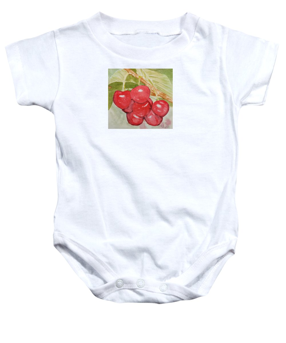 Fruit Baby Onesie featuring the painting Bunch Of Red Cherries by Elvira Ingram