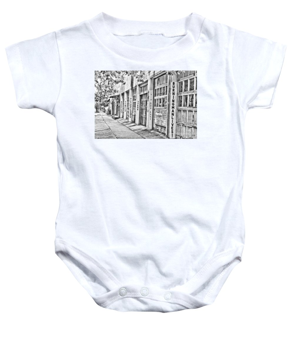 Burning Man Lives Baby Onesie featuring the photograph Burning Man Lives - Surreal Bw by Scott Pellegrin