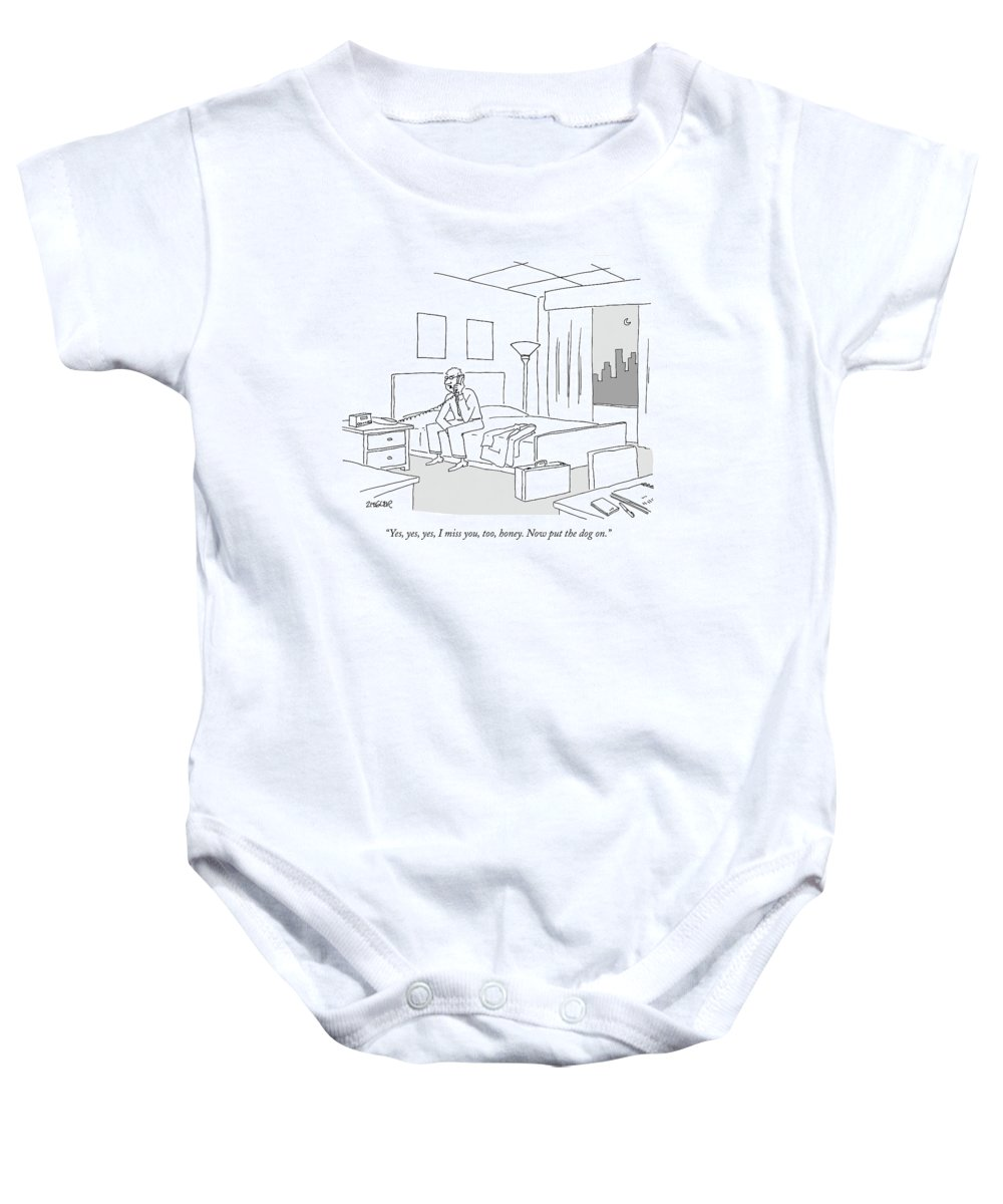 Relationships Pets Travel Problems  (businessman Sitting On A Bed In Hotel Room Talking On The Phone.) 121246 Jzi Jack Ziegler Topziegler Baby Onesie featuring the drawing Businessman Sitting On A Bed In Hotel Room by Jack Ziegler