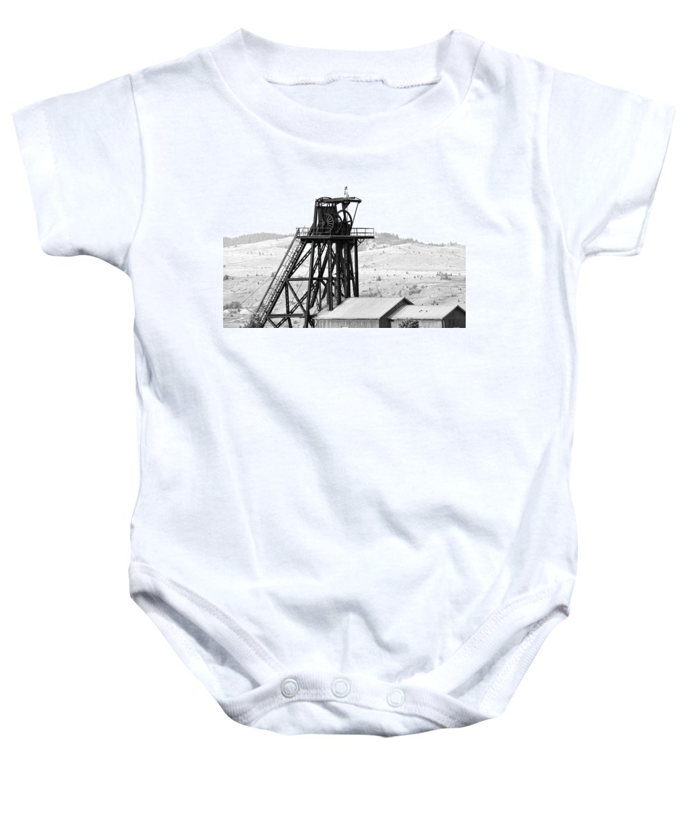 Butte Baby Onesie featuring the photograph Butte Mine Shaft by Image Takers Photography LLC - Carol Haddon