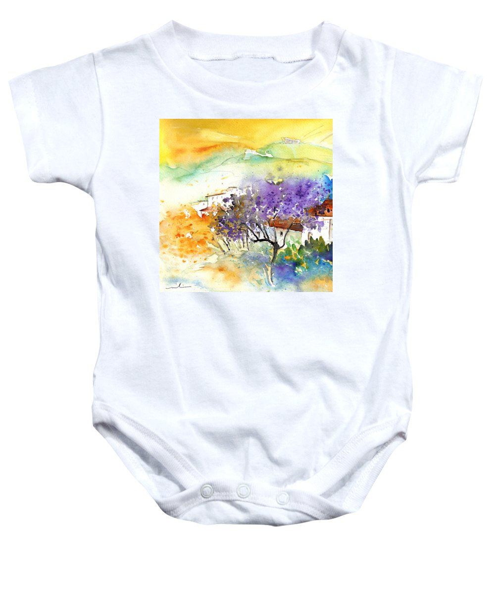 Watercolour Baby Onesie featuring the painting By Teruel Spain 01 by Miki De Goodaboom