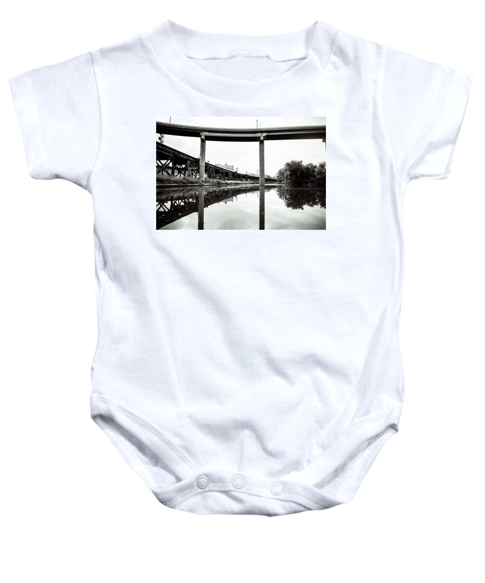 Bridge Baby Onesie featuring the photograph By Train Boat Or Automobile by Stacy Abbott