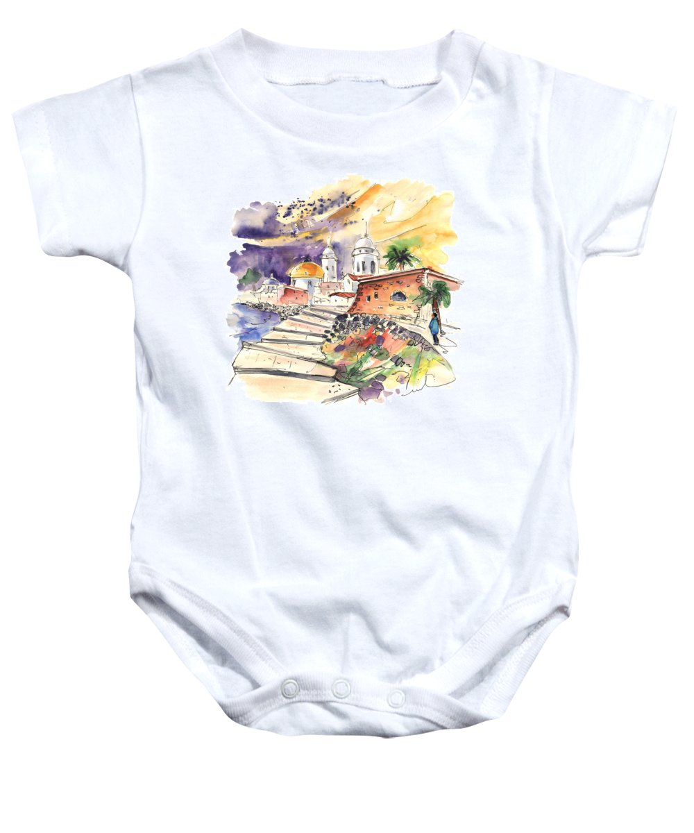 Travel Baby Onesie featuring the painting Cadiz Spain 01 by Miki De Goodaboom