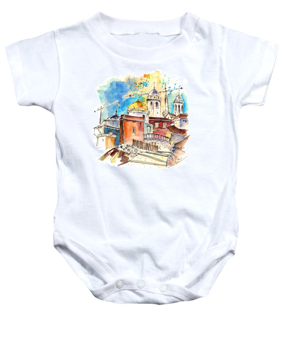 Travel Baby Onesie featuring the painting Cadiz Spain 02 by Miki De Goodaboom