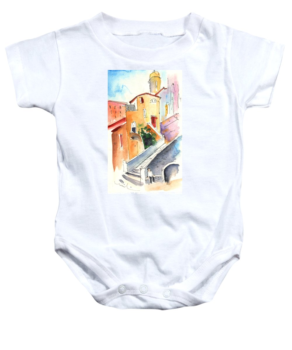 Italy Baby Onesie featuring the painting Camogli In Italy 01 by Miki De Goodaboom