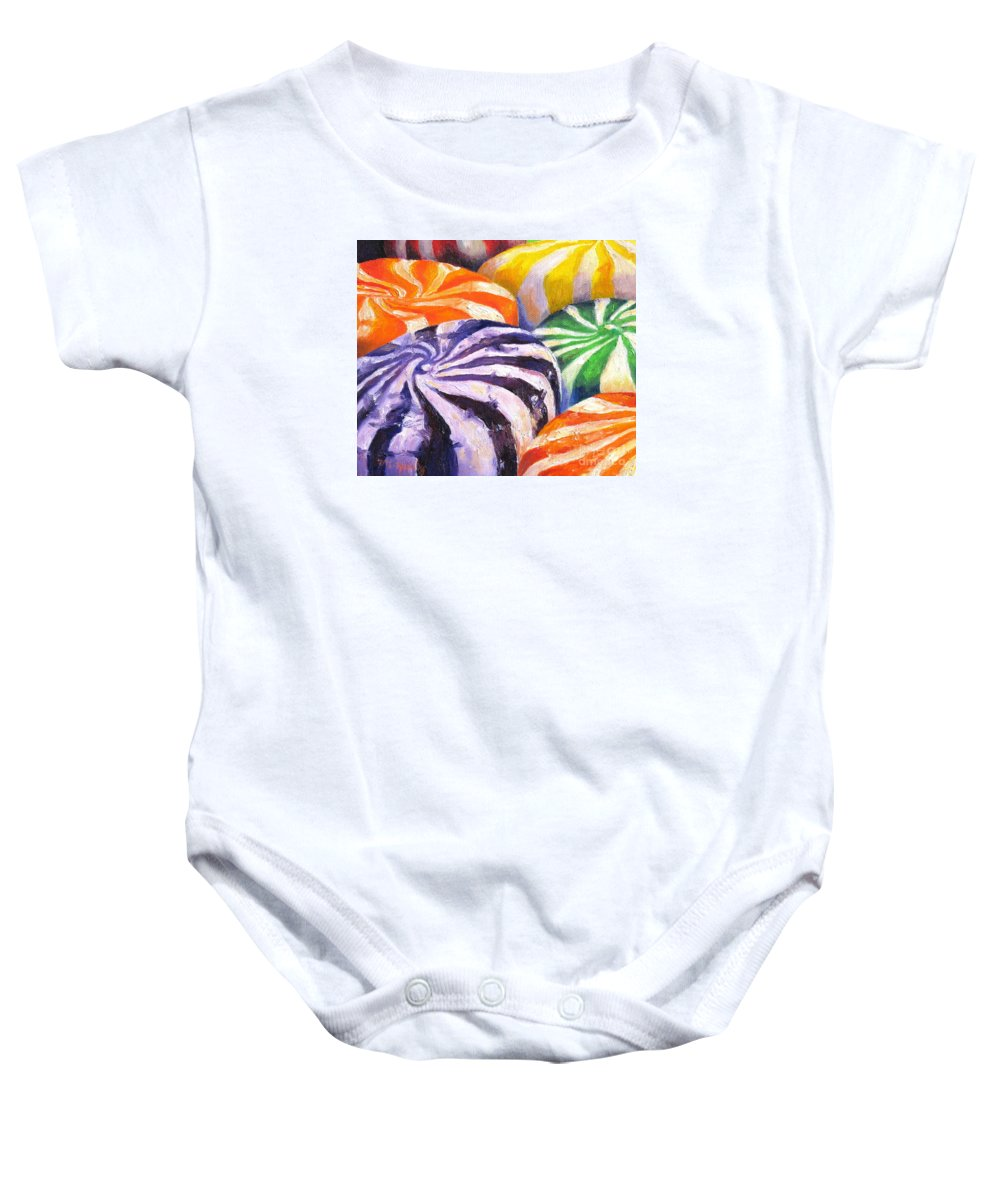 Candy Baby Onesie featuring the painting Candy by Marilyn Healey