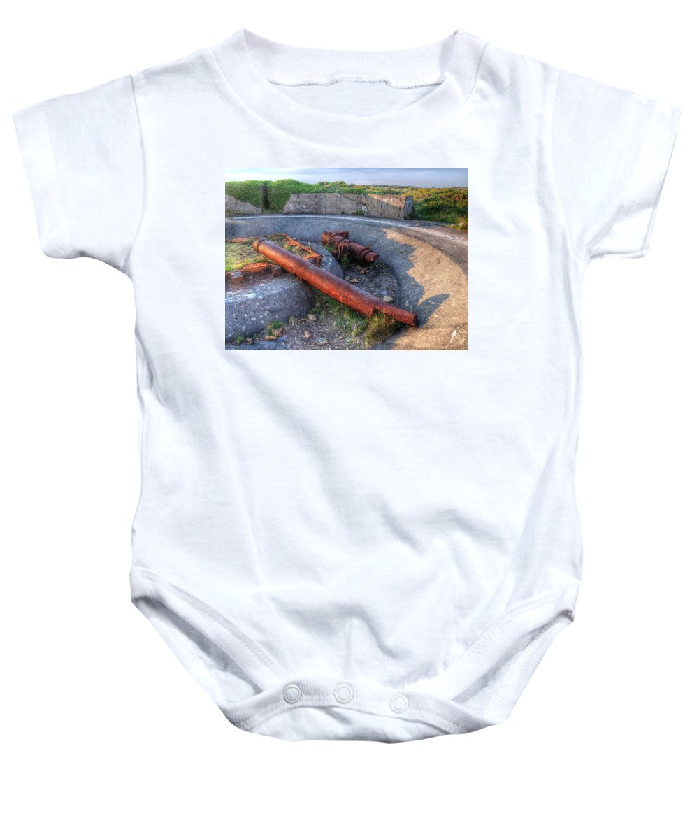 Cannon Baby Onesie featuring the photograph Cannon Remains From Ww2 by Gill Billington