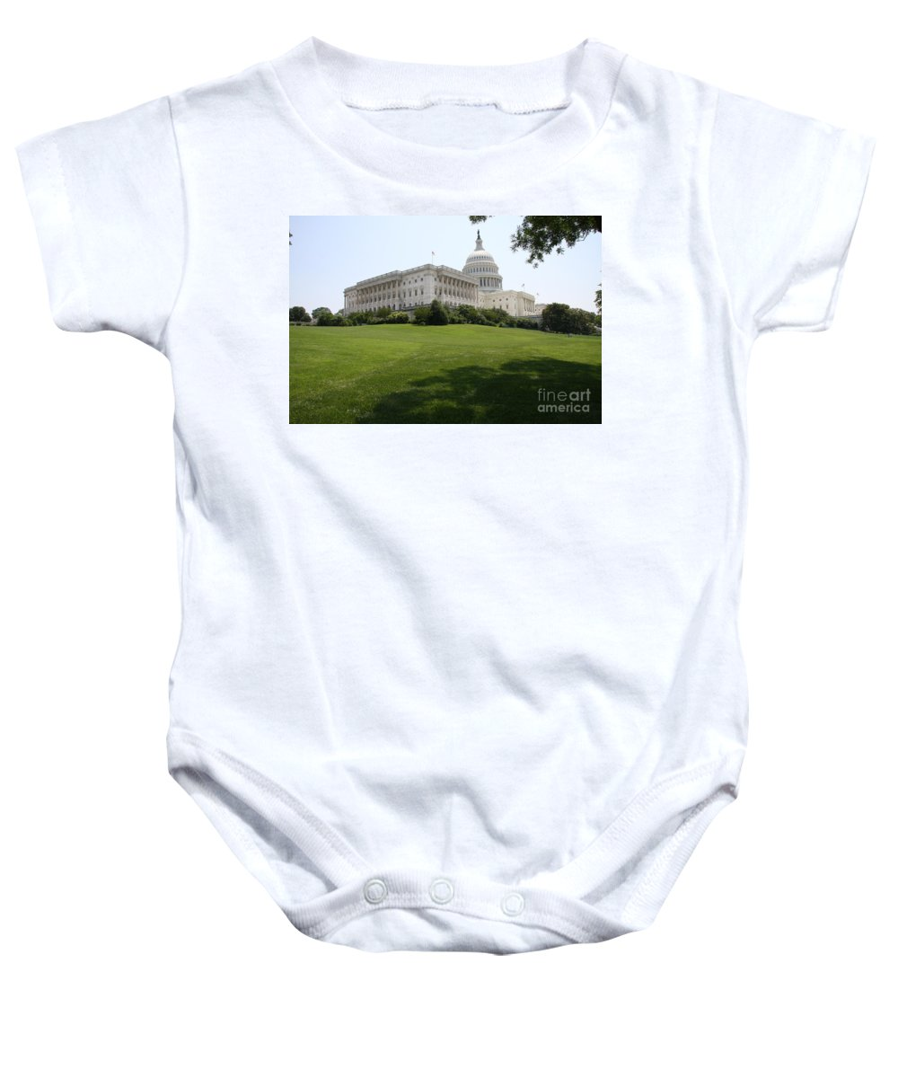 Capitol Baby Onesie featuring the photograph Capitol Hill View Washington Dc by Christiane Schulze Art And Photography