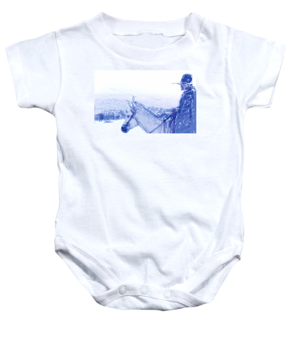 Capt. Call In A Snowstorm Baby Onesie featuring the drawing Capt. Call In A Snow Storm by Seth Weaver