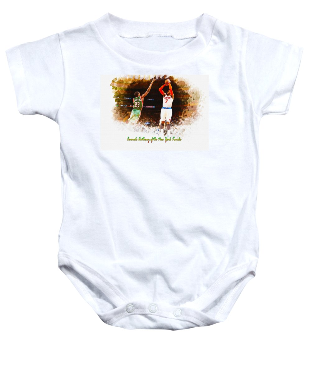 Decoration Baby Onesie featuring the digital art Carmelo Anthony Of The New York Knicks by Don Kuing