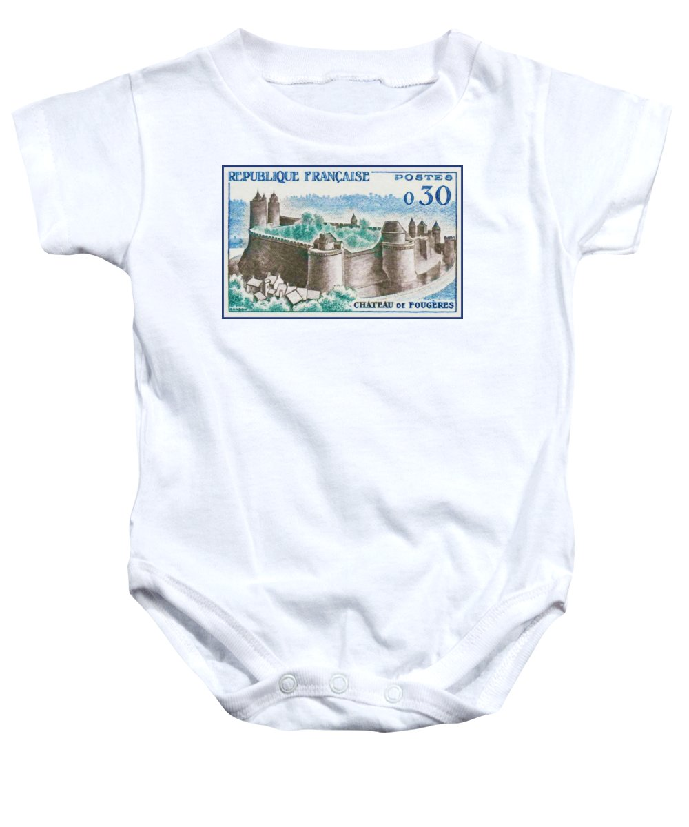 Heritage Baby Onesie featuring the painting Castle Fougeres by Jeelan Clark