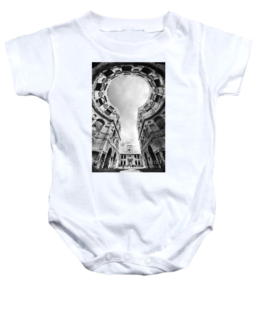 Blaminsky Baby Onesie featuring the photograph Castle Keyhole In Black And White by Jaroslaw Blaminsky