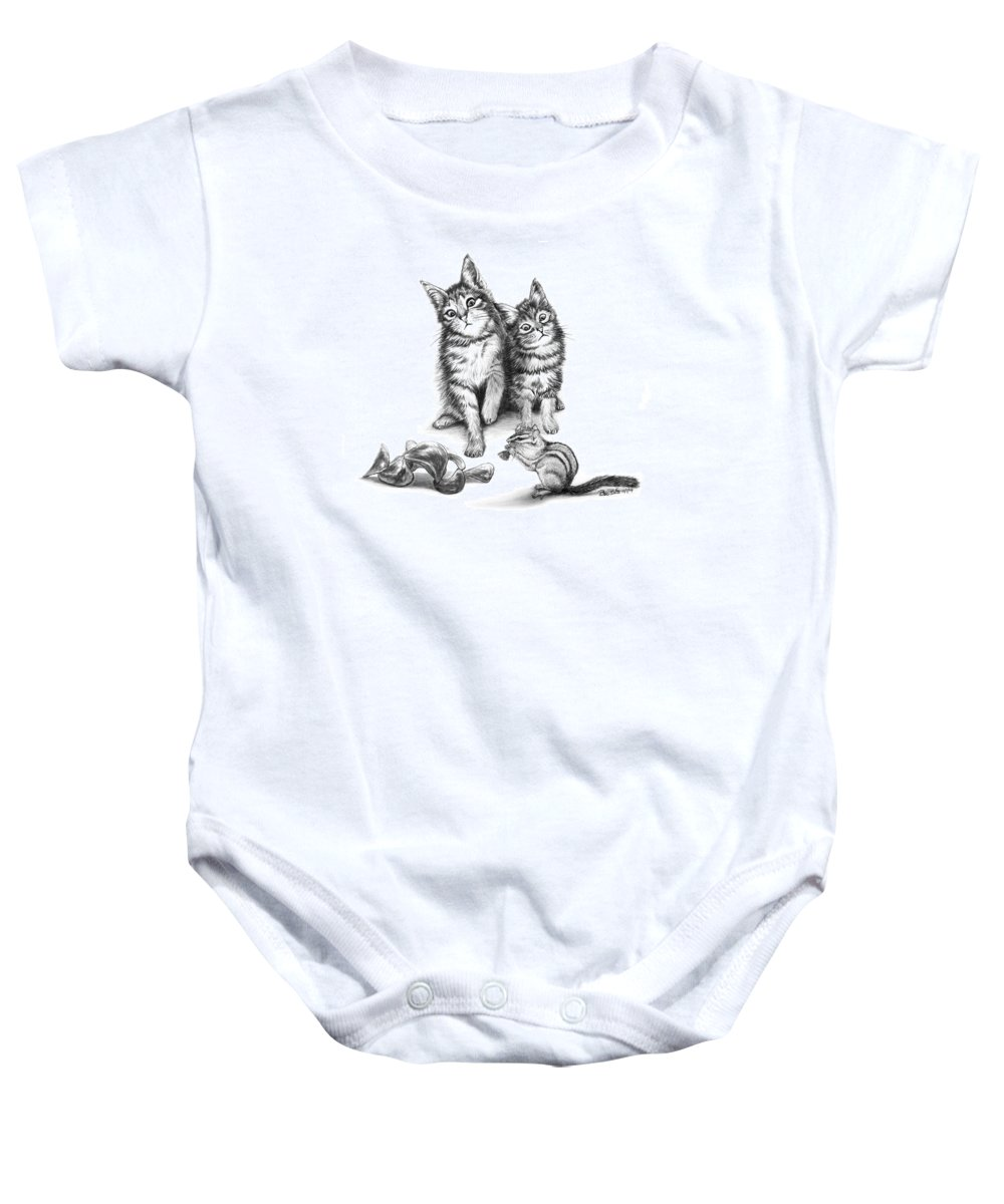 Cat Chips Baby Onesie featuring the drawing Cat Chips by Peter Piatt